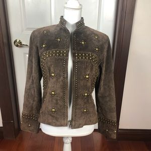 Scully Studded Suede Leather Jacket Brown